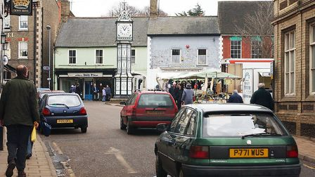 General View of Downham Market's High Street and Bridge Street, which is soon going to be closed off