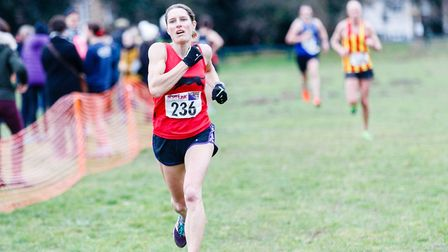 Jo Andrews on her way to second place overall at the Norfolk Cross Country Championships earlier thi