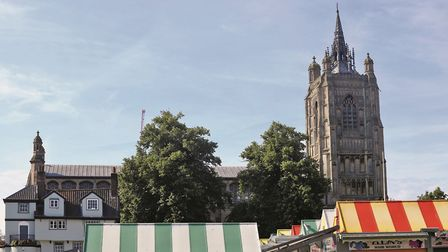 St Peter Mancroft towers over the marketplace, providing spiritual support for the traders as it has
