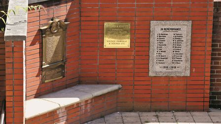 Off Kilderkin Way, once the site of Morgan's brewery, is this war memorial commemorating employees o