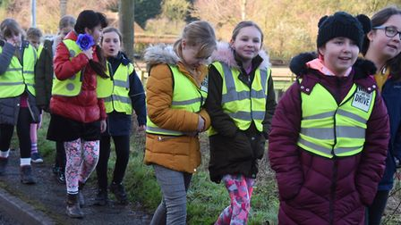 Tilney All Saints schoolchildren taking part in the revived Sharing the Plough Day from the school t