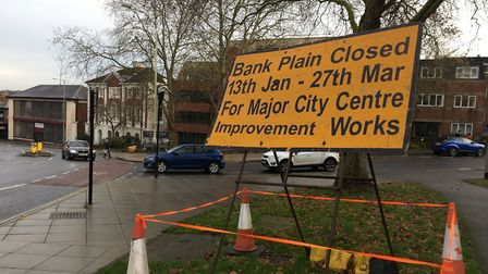 Bank Plain in Norwich will be shut for 11 weeks. Pic: Dan Grimmer