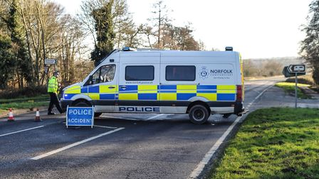 A police van has been parked on the exact spot where Prince Phillip's Land Rover overturned. Photo: