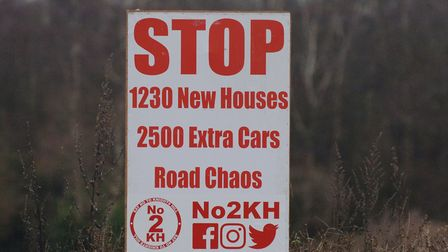 A protest sign near the site of the proposed development on Grimston Road. If allowed on appeal, it