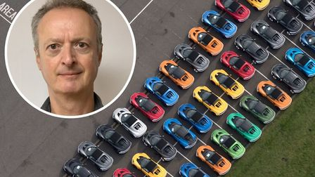 An aerial image of cars awaiting testing at Lotus in Hethel, taken by John Fielding (inset) from his