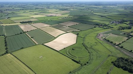 An aerial image of the Warham iron age hill fort, taken by John Fielding from his microlight aircraf