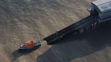 An aerial image of Cromer Lifeboat returning to its station in north Norfolk, taken by John Fielding