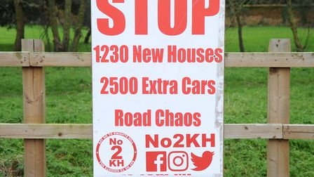 A sign protesting at the proposed Knights Hill development Picture: Chris Bishop