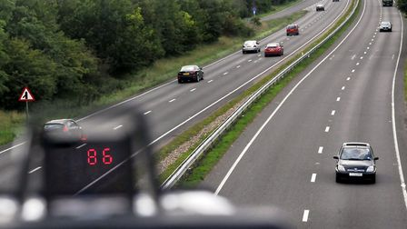 Laser speed gun's view of motorists on the A47 dual carriageway Acle bypass. Photo: Bill Smith