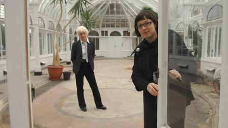 Inside Carrow House's conservatory in 2007. Pictured are Ruth Battersby and Vicky Manthorpe. Carrow