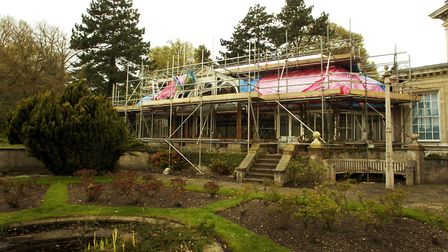 Restoration work at the Carrow House conservatory, pictured in 2004. Photo: Bill Smith