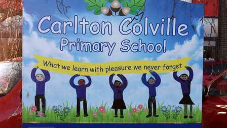 The Carlton Colville Primary School sign in Lowestoft. Pictures: Mick Howes