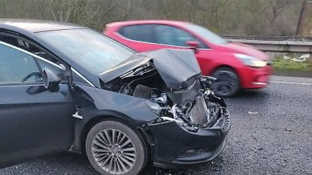 Two of the six cars involved in a crash on the A47 near Postwick. Picture: Joe Bygrave