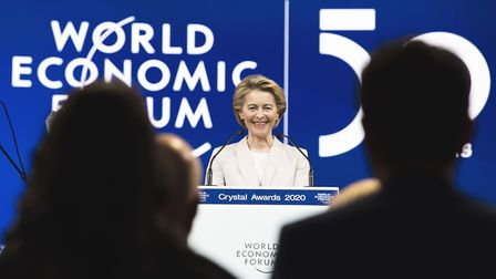 President of the European Commission Ursula von der Leyen smiles as she delivers a welcoming address