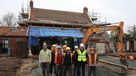 Richard Leigh, construction manager at Holkham Estate (second from right), with the team from RobSon