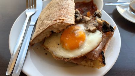 The egg, sausage and bacon roll, with sauteed mushrooms at Nourish in Norwich. Picture: Stuart Ander