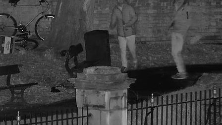Police want to speak to these men about damage to the hives Picture: Cambridgeshire Police