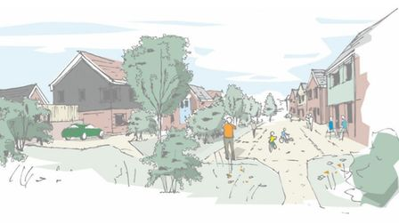 Impressions of the shared street scene for the Reydon development. Picture: Brown and Co property an