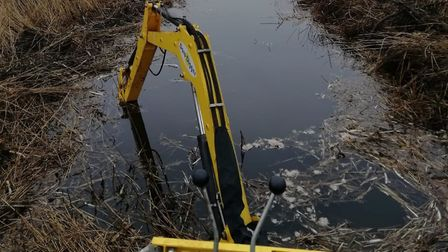 The Truxor machine in action at How Hill National Nature Reserve. Picture: Martin Dade.