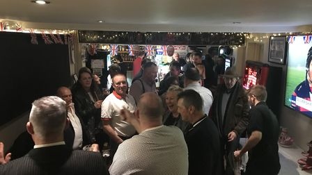 Dozens of people attended the The Railway Tavern in Dereham's EU leaving party to mark Brexit day. P