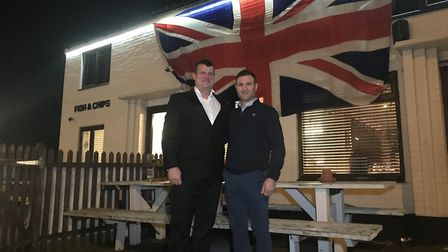 Paul Sandford, landlord, and his son-in-law Bobbie Buchan, outside The Railway Tavern in Dereham whi