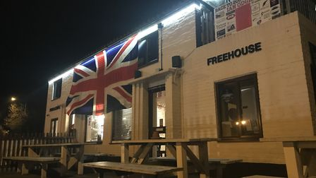 A Union flag was hung outside The Railway Tavern in Dereham for its EU leaving party marking Brexit.