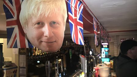 Boris Johnson's face and Union flags decorated The Railway Tavern in Dereham for its EU leaving part