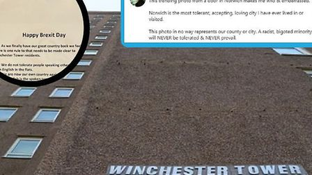 Television presenter Jake Humphrey has been among those to condemn a poster placed in Winchester Tow