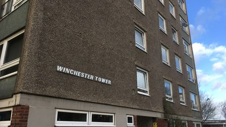 Winchester Tower in Norwich, where a racist poster was put up on Brexit Day. Picture: David Hannant