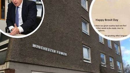"""Prime minister Boris Johnson has said the 'Happy Brexit Day' poster on Winchester Tower is """"news to"""