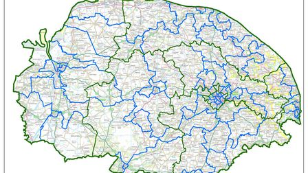 A map of the current Norfolk electoral boundaries. Pic: The Local Government Boundary Commission for