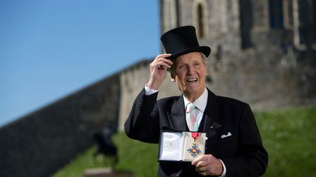 Nicholas Parsons with his Commander of the Order of the British Empire (CBE). The Just a Minute hos