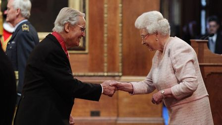 r Nicholas Parsons is made a Commander of the Order of the British Empire (CBE) by Queen Elizabeth I