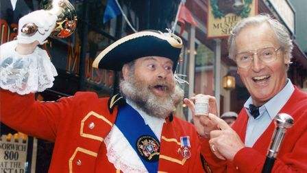 Nicholas Parsons teams up with Norwich Town Crier David Bullock at the Mustard Shop in Norwich for t