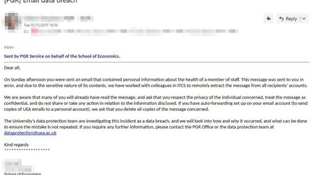 UEA sent this email to all recipients of the data breach, informing them that it had been deleted fr