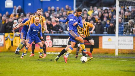 Ross Barrows in action for the Linnets - the defender has signed an extended contract at The Walks P