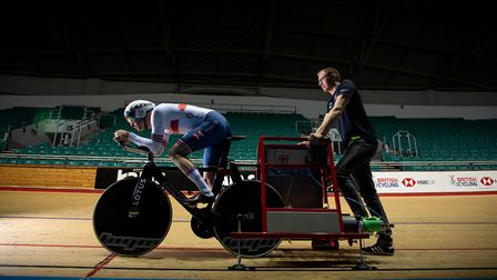 Cyclist Ed Clancy test rides the new Hope and Lotus track bike for British Cycling at the Manchester