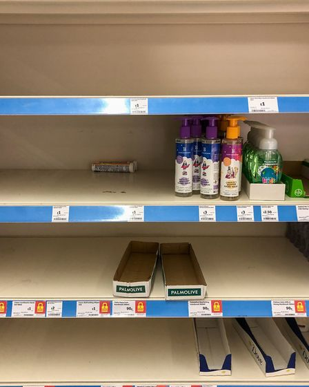 An example of such a shortage of antibacterial handwash on the shelf in Cambridge, as Prime Minister