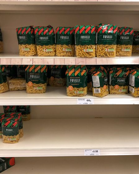 An example of such a shortage on the shelves at a Sainsbury's supermarket in Cambridge, as Prime Min
