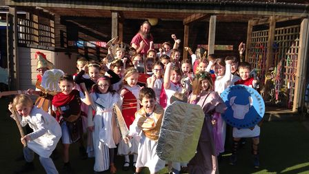 Saplings class at Alburgh with Denton Primary School enjoying a day as Ancient Greeks. Picture: Albu