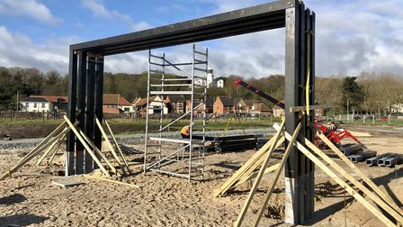 Work to install play equipment and new footpaths at The Ness, the most easterly park in the UK, is c