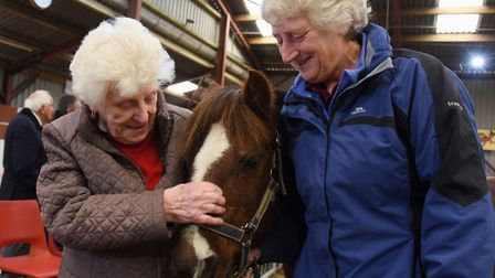 Joyce Walford, left, from Dove Court Care Home at Wisbech, met pony Roger at the Magpie Centre Open