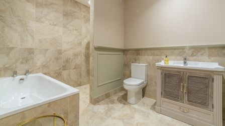 The bathroom in Red Stag Lodge, Hill Farm Massingham. Picture: Iceni Imaging