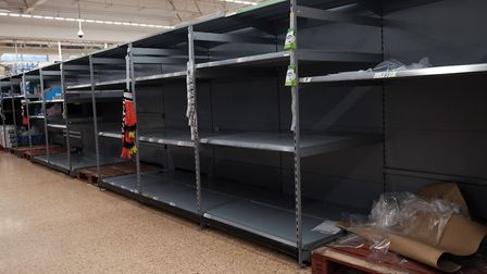 Empty shelves as toilet roll is sold out in an Asda store. Picture: Yui Mok/PA Wire