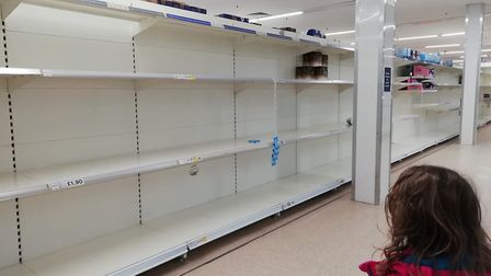 Sarah Harding and her daughter came across sparse shelves in the toilet roll section at the Tesco st