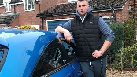 The windows of Scott Buck's Vauxhall Astra VXR were smashed in Dereham. He said police dropped his c