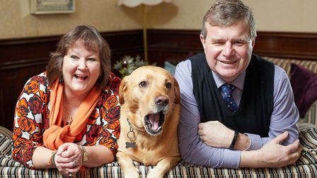 Nicholas and Aileen Mobbs, who run the Imperial Hotel in Yarmouth, with their dog Sammy. Picture: St