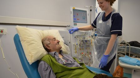 Derek Hudson receives dialysis treatment at the Norfolk and Norwich Kidney Centre. Picture: NNUH