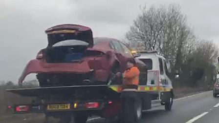 The scene of a multi-car crash on the A47. Picture: Archant