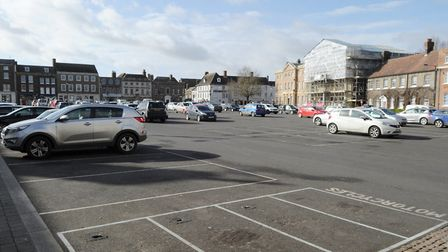 There were numerous empty spaces on the Tuesday Market Place in King's Lynn - a normally-full car pa
